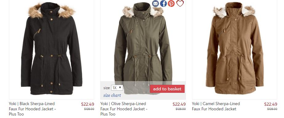 Women's Faux Fur Hooded & Sherpa-Lined Coat $22.49