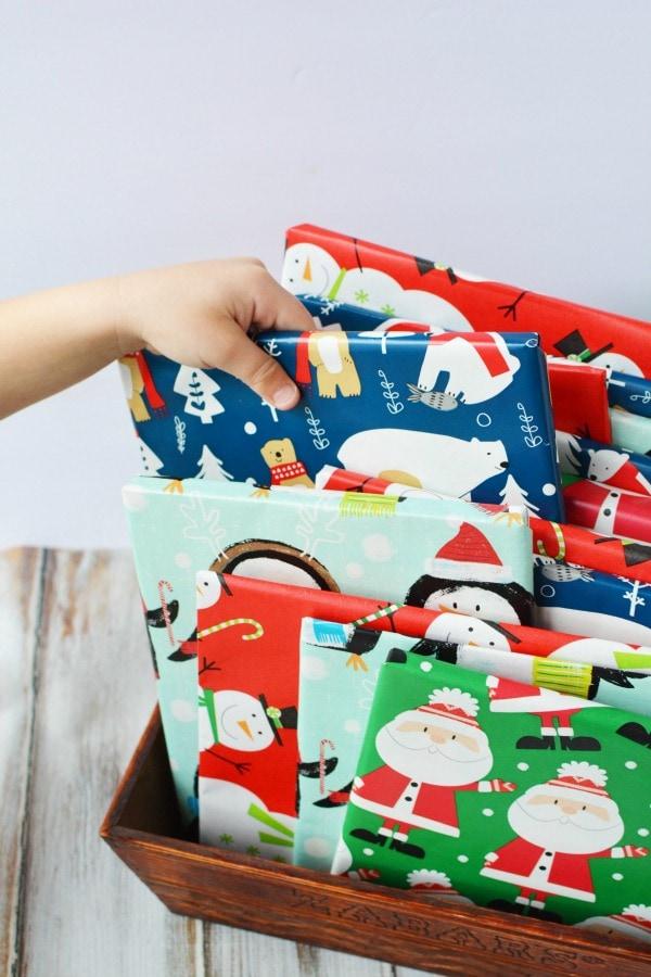 Christmas books wrapped for Christmas countdown