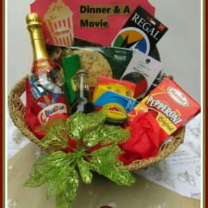 Personalize your Gift Card Giving with a dinner & movie basket for a Christmas gift for a family, couple, teacher, teens and more.