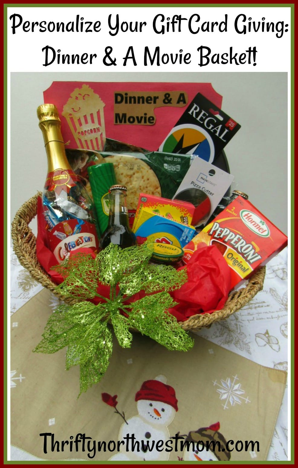 Personalize your Gift Card Giving with this creative dinner & a movie basket for a Christmas gift for a family, couple, teacher, teens and more.