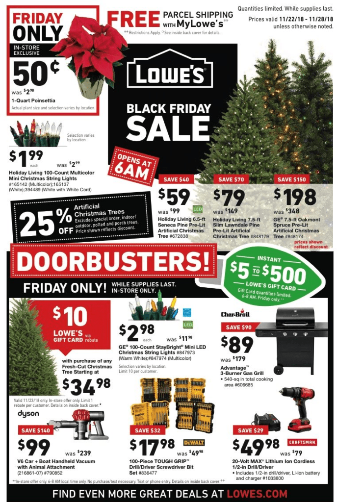 Lowes Black Friday Deals for 2018 – Artificial Christmas Trees as low as $59 & more!