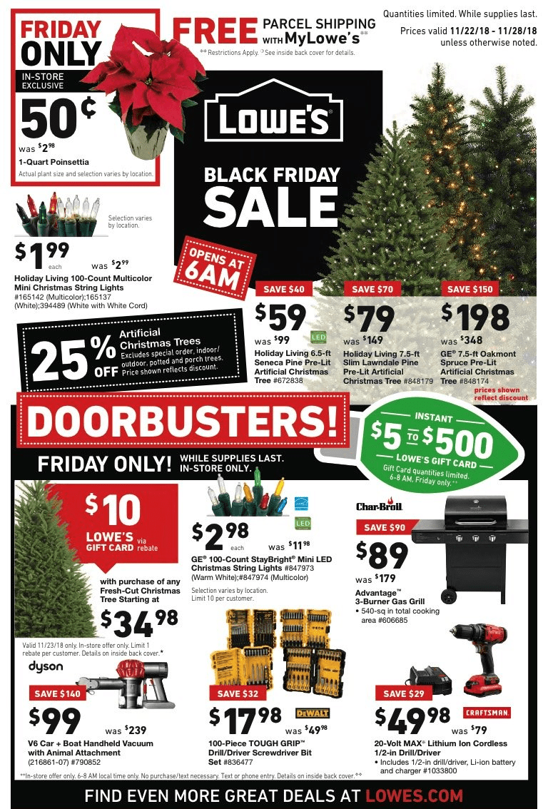 Lowes Black Friday Deals For 2018 Artificial Christmas Trees As