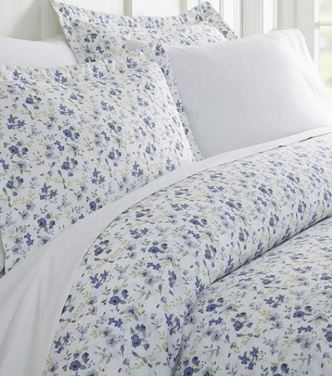 Light Blue Blossoms Duvet Cover Set
