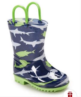 Green & Blue Shark Rain Boots