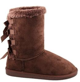 Brown Ribbon Boots