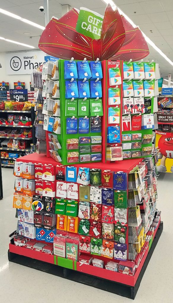 Walmart Gift Card Station for Christmas