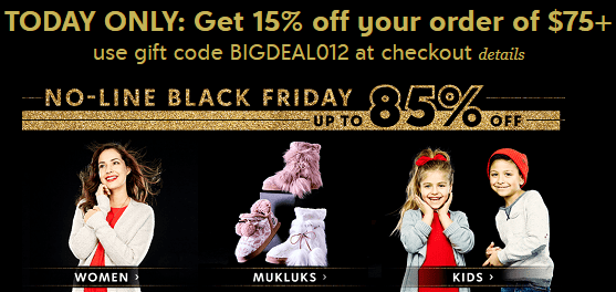 Zulily Black Friday Sale – Up To 85% Off + Coupon Code For 15% Off $75 or More!