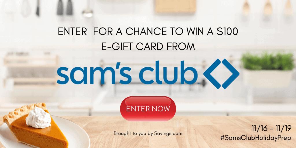 Sams CLub $100 GIft Card Giveaway