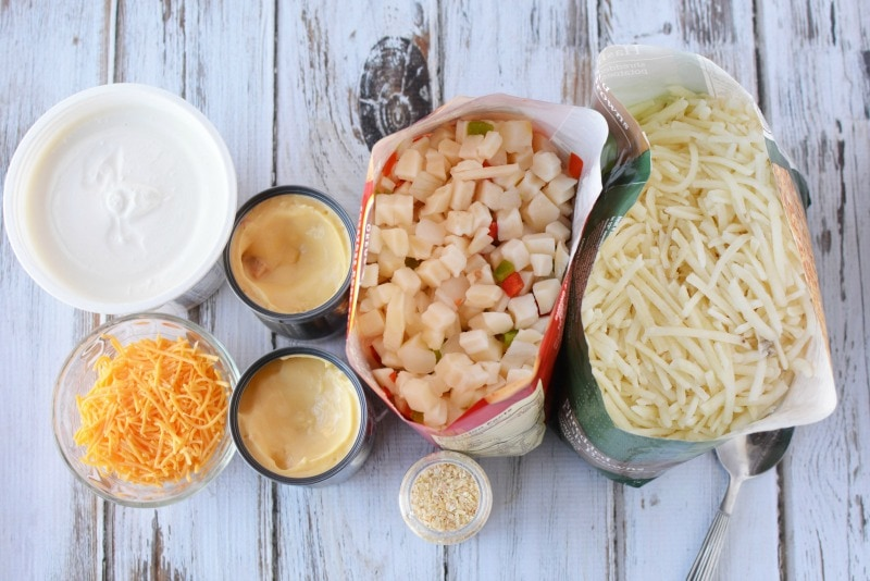 Ingredients for Cheesy Hashbrown Potatoes