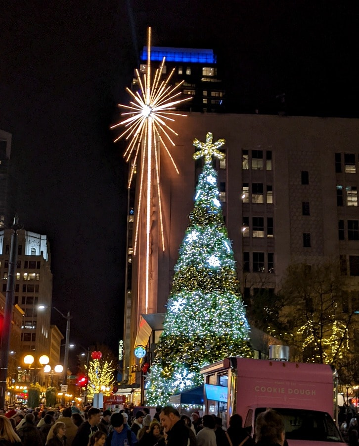 Macys Star at Night in Seattle at Christmas