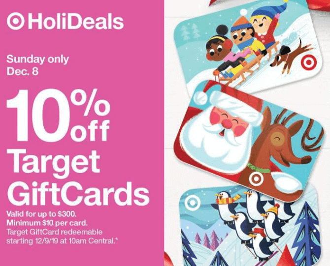 Target Gift Cards – Get 10% Off Sunday December 8th Only!