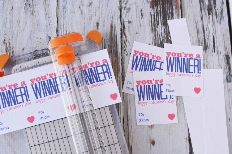 Cutting out the You're the Winner cards