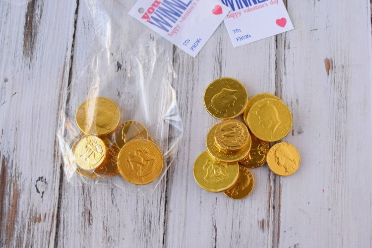 Gold Chocolate coins to use for You're a winner valentine cards