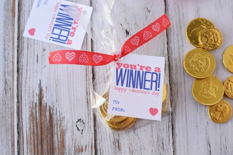 You're a Winner Valentine cards with chocolate coins