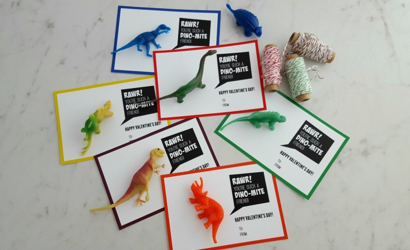 diy dinosaur valentine with free printable cards  thrifty