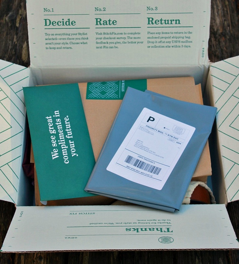 Men's Stitch Fix Box Packaging