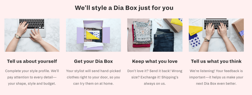 Dia & Co Steps for Online Stylist Service for Plus Sizes