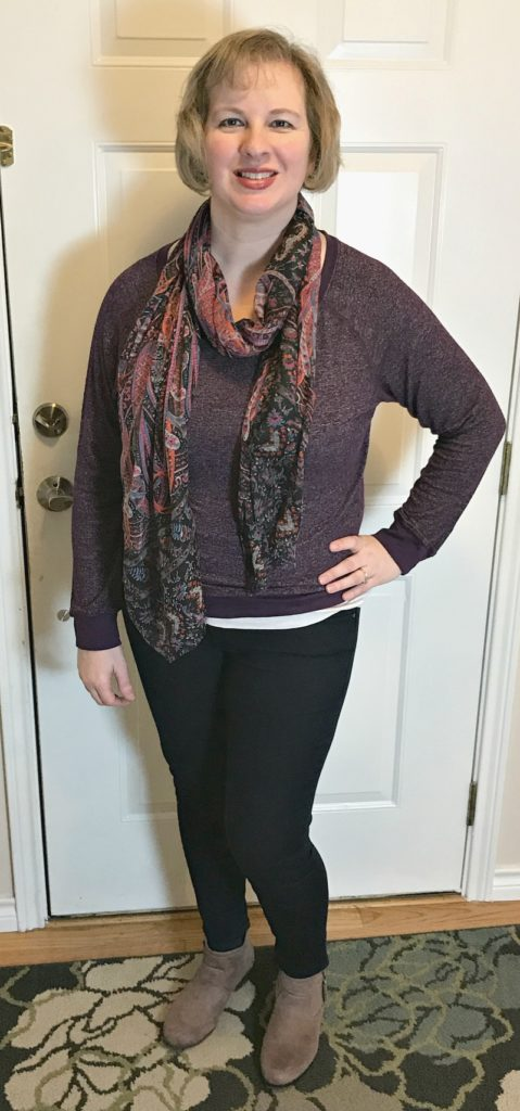 Stitch Fix Purple Sweatshirt Top & Jeans