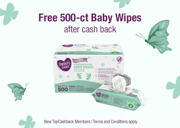 500 FREE Baby Wipes After Cashback for New TopCashback Members!
