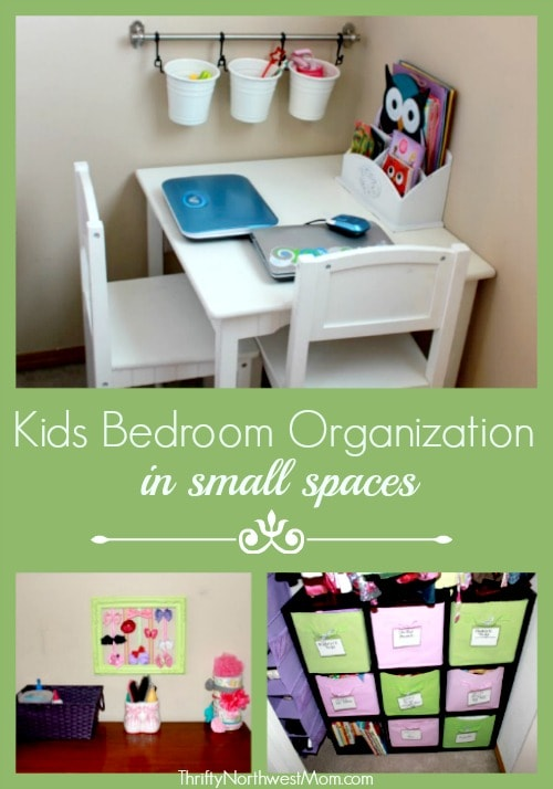 Try these tips for organizing kids' bedrooms in small spaces on a budget. Add a DIY art corner, DIY Headband holder, DIY Bow Holder & more to add organization. #organization