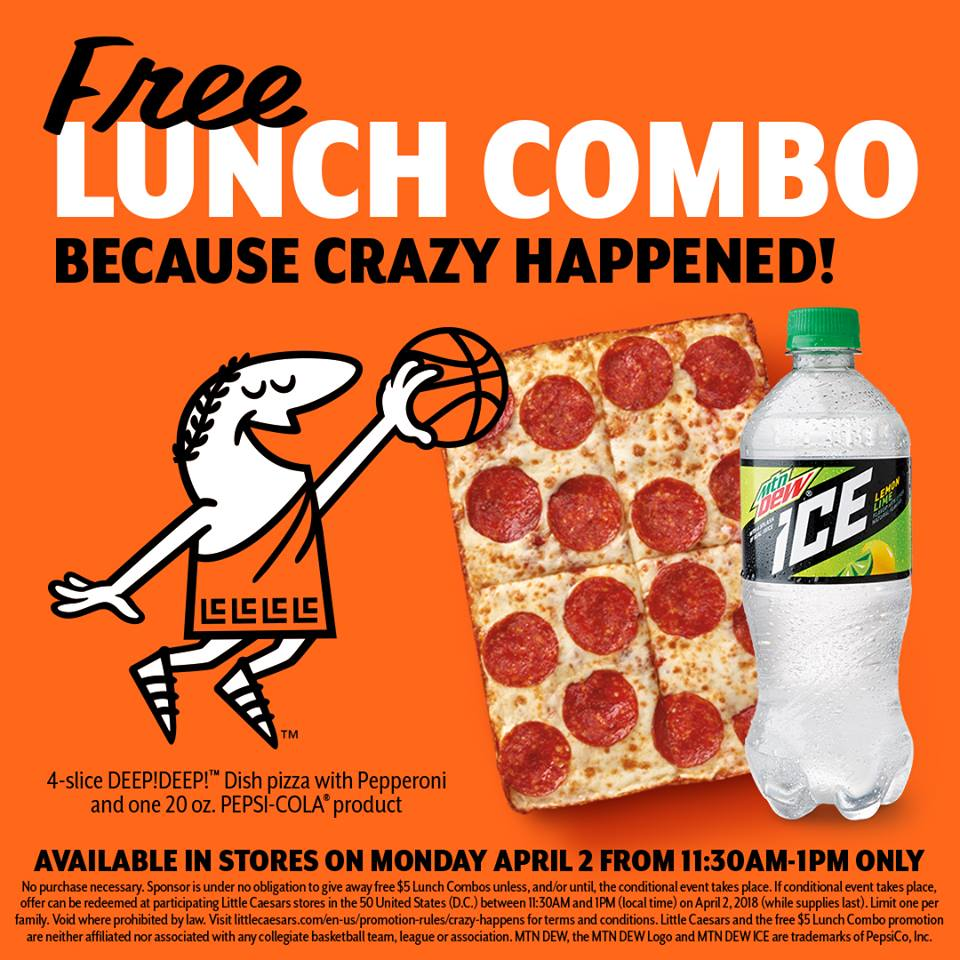 Free Lunch Combo From Little Caesars Pizza on April 2nd! Today!