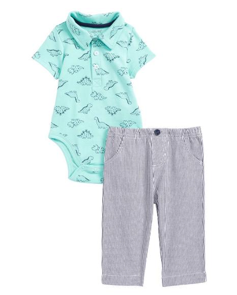 Little Me Dino Polo Bodysuit & Pants Set