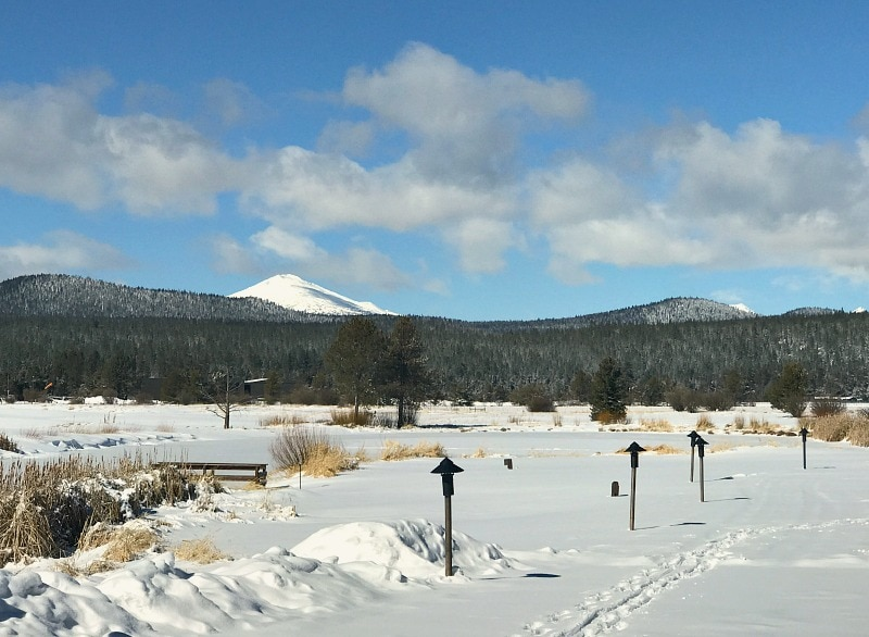 Mt Bachelor during the winter from Sunriver Oregon