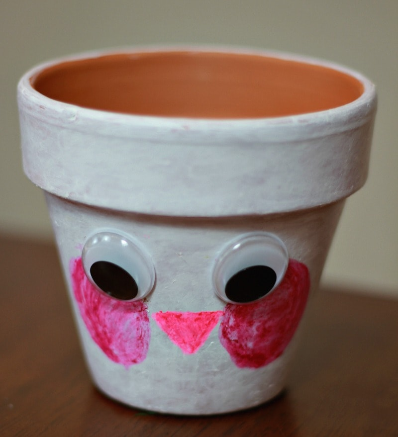 Painted Rabbit Pots with Kwik Stix and adding a Face & Googly Eyes