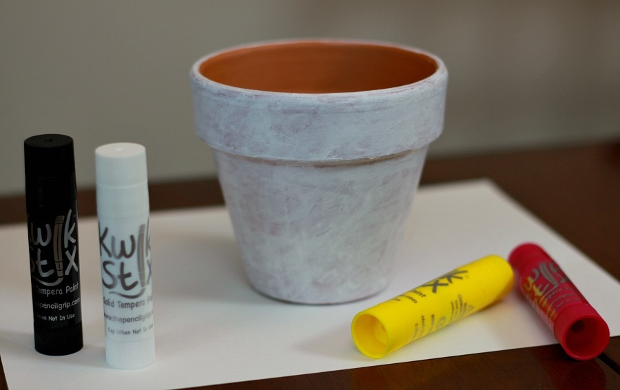 Painting pots with Kwik Stix Mess Free Paints
