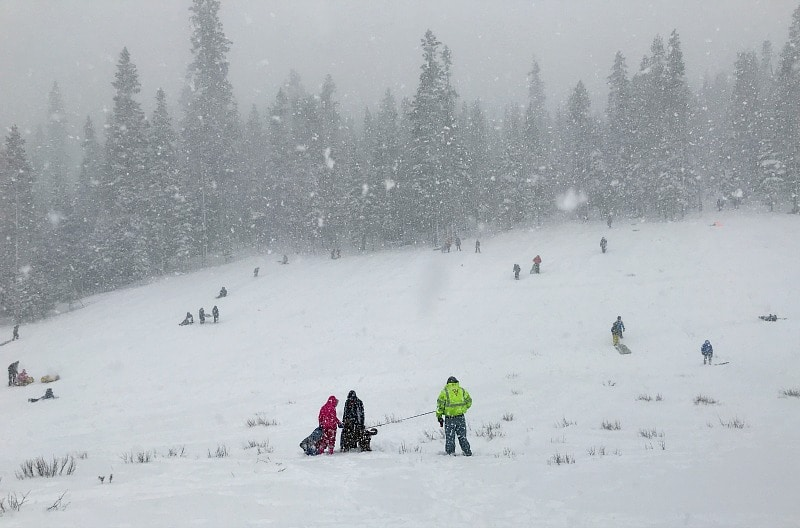 Sledding at Wanoga Sno Park in Bend Oregon