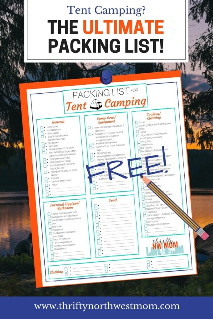 Packing List for Tent Camping – Free Printable
