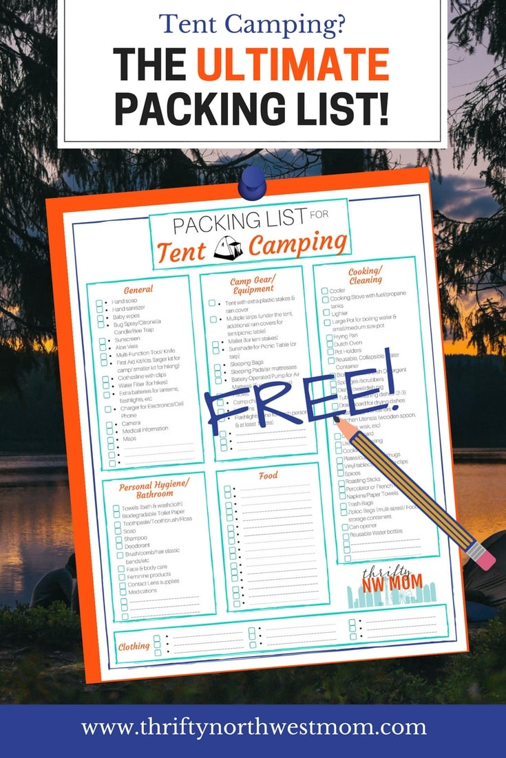 Packing List for Tent Camping Free Printable