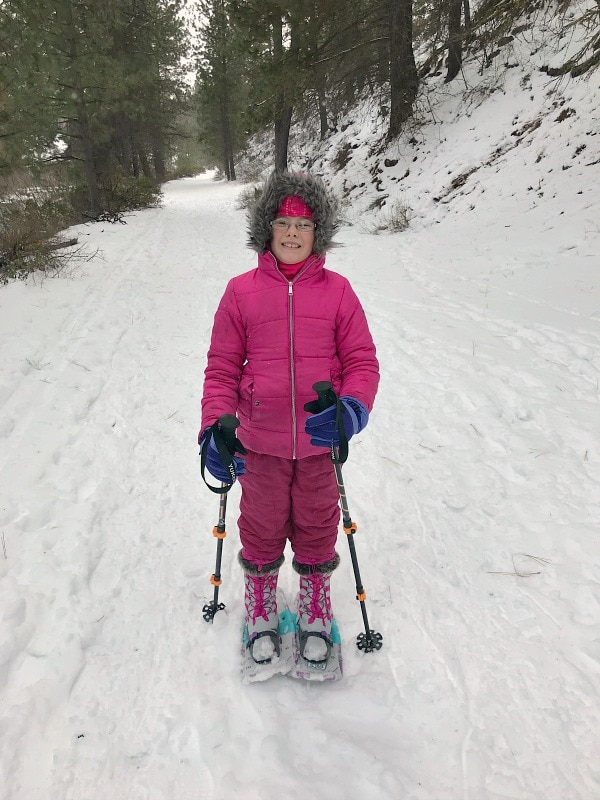 Snowshoeing in Lands' End Snow Boots for Kids