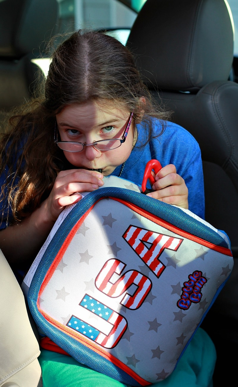 Kids can even blow the Bubble Bum Travel Booster Seat up - it's so easy to use