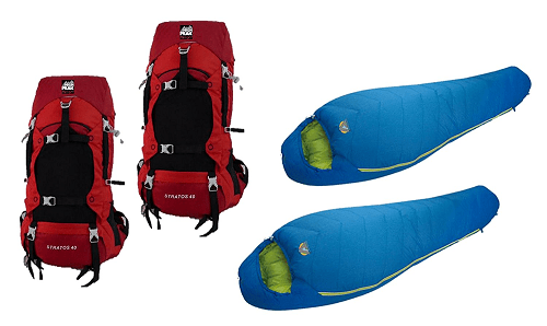 High Peak USA Alpinizmo Pack & Sleeping Bags Combo Set