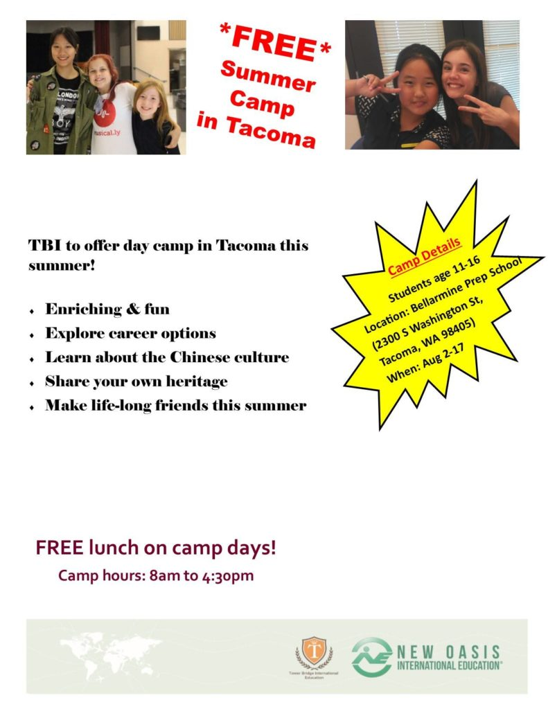 Free Tacoma Summer Camp for Students in August