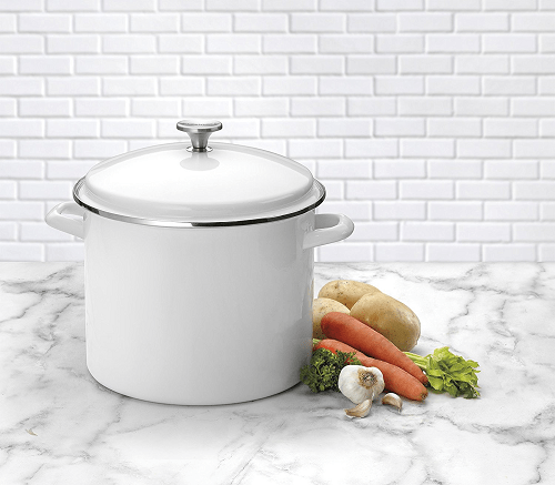 Cuisinart Enamel on Steel Stockpot with Cover, 12-Quart, White