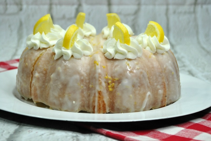 Lemon Bundt Cake makes for a beautiful display and flavorful dessert at a party.