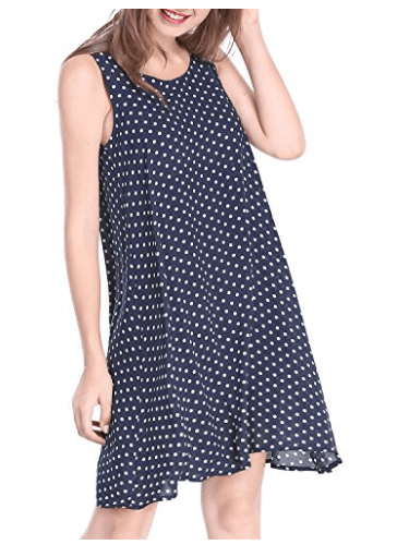 Women's Polka Dots Scoop Neck Sleeveless Dress
