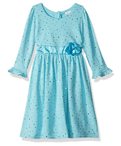 Youngland Girls' Sparkle Sweater Knit Dress with Flower Detail