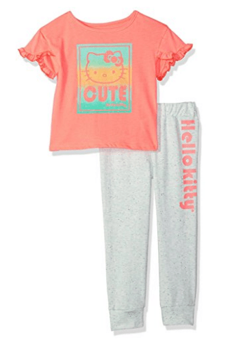 Hello Kitty Girls' Jogger Pant Set with Fashion Top