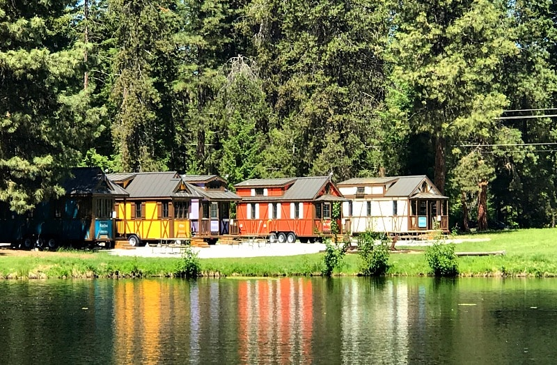 Lake view of Leavenworth Tiny House Village