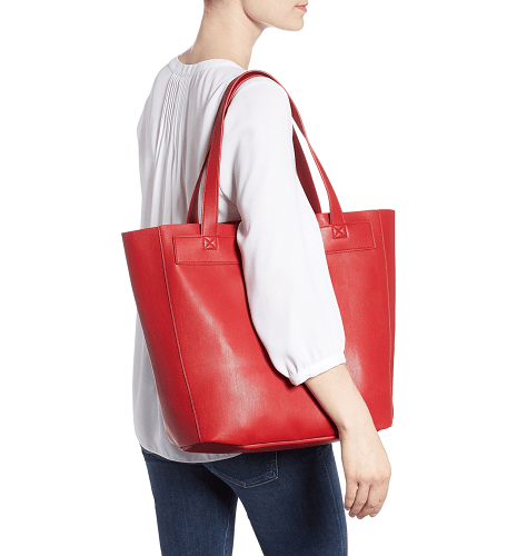 Stitched Faux Leather Tote