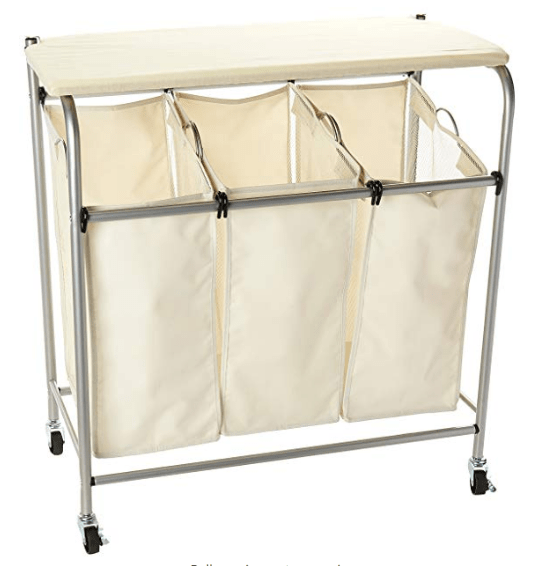 3 Section Rolling Laundry Sorter