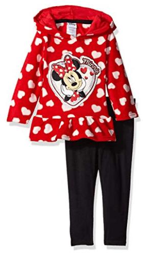 Disney Girls' 2 Piece Minnie Hoodie and Printed Legging Set