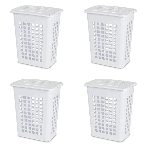 LiftTop Laundry Hamper, White, 4-Pack