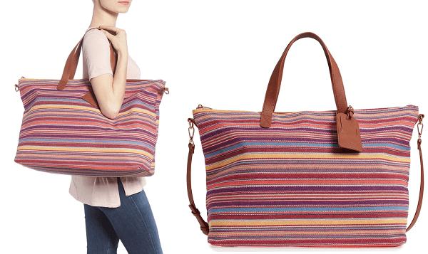 Stripe Woven Overnight Bag