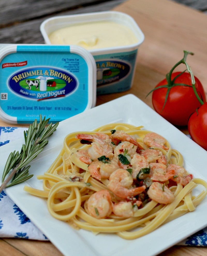 Tuscan Shrimp Scampi with Brummel & Brown Spread for a creamy, healthier dish.