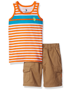 U.S. Polo Assn. Boys' Tank Top and Twill Cargo Short