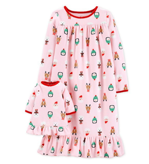 Carter's Toddler Girls Holiday-Print Nightgown Matching Doll Outfit $10.99!